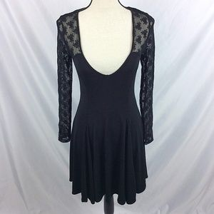 Kimchi Blue Deep V Lace Skater Dress Sexy Sheer